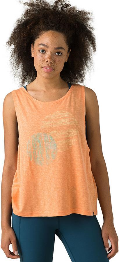 Prana Chez Tank Women's Yoga Top, XL Cantaloupe Circles